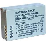 Maxsimafoto® - Compatible NB-10L, NB10L Battery 1100mAh For Canon Powershot SX40 HS, SX50 HS, SX60, G1 X, G15, G16.