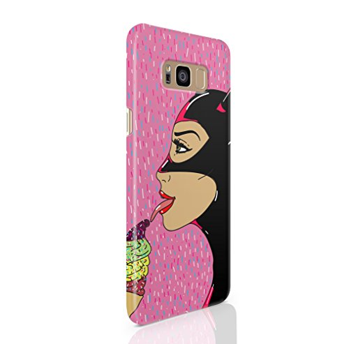 Hermit&The7Foxes Samsung Galaxy S8 Hülle Pink Rosa CatWoman Motive Muster Ultra Dünne Schutzhülle aus Kunststoff für Samsung Galaxy S8 Handyhülle Samsung Case Cover