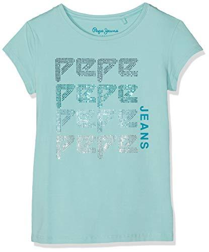 Pepe Jeans Mädchen Peace T-Shirt, Blau (Dark Acqua 518), 8 Jahre (Herstellergröße: 8) (Jean Strass Logo)