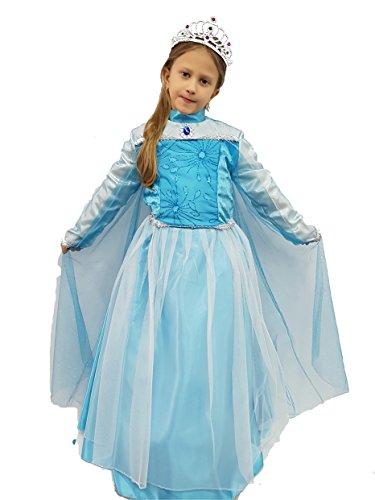 Kostüm Kleid Fasching Kostüm Maske Cosplay Halloween Spiel Figur Mädchen Mädchen Mädchen Film Prinzessin Princess Frozen Elsa Prinzessin der Eis tg l altezza 100 cm spalla terra himmelblau (Cinderella Halloween-kostüme)