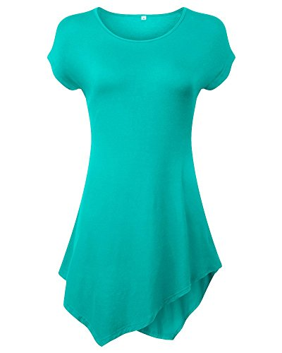 Moollyfox Casuel Ras Du Cou Court Femmes Manches T-Shirt Herbe Vert