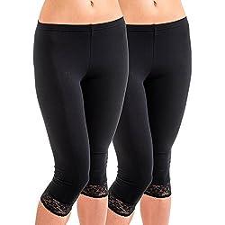 HERMKO 5722 2er Pack Damen 3/4-Leggings mit Spitze, Farbe:schwarz, Größe:44/46 (L)