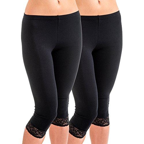 HERMKO 5722 2er Pack Damen 3/4-Leggings mit Spitze, Farbe:schwarz, Größe:52/54 (XXL)