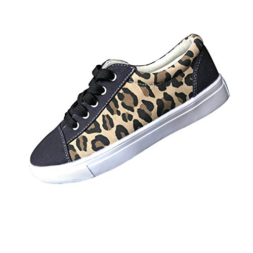 HCFKJ Scarpe da Ginnastica Piatte da Donna Leopardate Sneakers(Marrone,41)