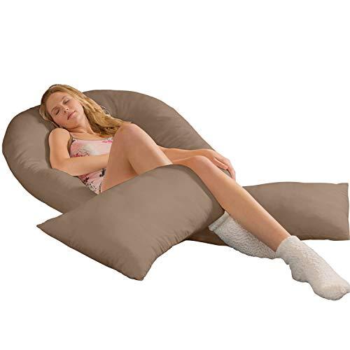 Traumreiter Jumbo XXL Seitenschläferkissen mit Kissenbezug (hell-braun) Schwangerschaftskissen Ganzkörperkissen Body Pillow u-Kissen