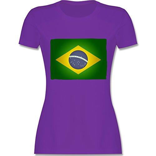 Länder - Flagge Brasilien - tailliertes Premium T-Shirt mit Rundhalsausschnitt für Damen Lila