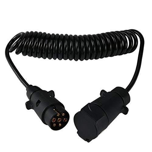 Funnyrunstore Professional Convertisseur de remorque à 7 broches avec câble Adaptateur de connecteur de remorque de 3,5 mètres Faisceau de câblage de remorque pour feux arrière (noir)