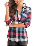 Hippolo Damen Plaid Bluse Beiläufige Lose Shirt Weibliche Langarm Farbe Gitter Tops (M, Blau)