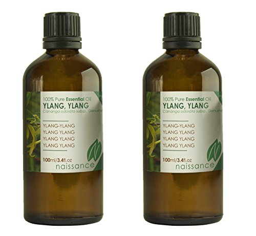 Naissance Ylang Ylang Essential Oil 200ml (2x100ml) – Pure, Natural, Cruelty Free, Steam Distilled and Undiluted – for Use in Aromatherapy, Massage Blend & Diffusers – Soothing and Relaxing Springtime Aroma