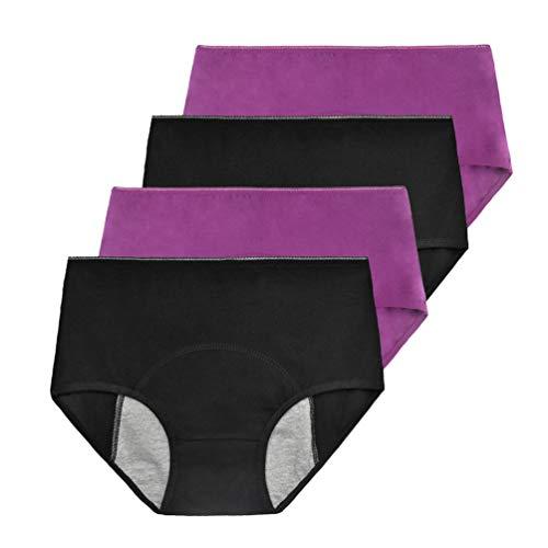 Phennie's Womens Girls Menstrual Period Panties Young Female Absorbent Free Leak Briefs Teens No Leak Underwear Pack of 4 Black & Purple M -