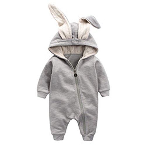 ARAUS Baby Overall Langarm Baumwolle Strampler Hase Ohren Kapuzenpullover Romper Jumpsuit Herbst Spielanzug 1-18 Monate