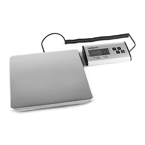 Preisvergleich Produktbild oneConcept Marketeer digitale Paketwaage Plattformwaage (200 kg/100 g, 27 x 27 cm, großes Display) silber