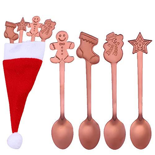 TAOtTAO Edelstahl Blumen Löffel Kaffee Tee Spork Besteck Dessert Salat Werkzeug Weihnachten Bunte Griff Löffel EIS Trinken Werkzeuge (Roségold, 4 pcs + 1 Weihnachtsmütze)