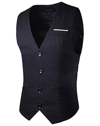JOLIME Herren Anzug Weste Slim Bügelleicht 4 Knopf Smoking FüR Hochzeit Fest Business Casual Schwarz XL (Damen Smoking Jacke Kostüm)