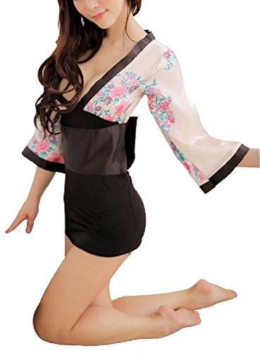 Preisvergleich Produktbild Shangrui Damen Cosplay Kimono Robe Art Kostüm Nachtwäsche G-String Set