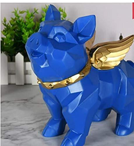 LJXLXY Dekoration Kunst Büro Statue-Engels-Schwein-Harz-Skulptur-Ausgangsgeometrie-niedliches Schwein-Geschenk - Blau - Engel Die Box Die Blue Haben