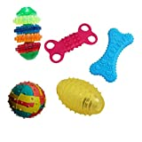 #1: W9 Combo of 5 Natural Rubber Puppy Toy (W9-PA-TY-90, Multicolour) - (Color May Vary)