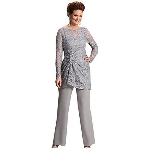 dressvip Round Neck Long Sleeves Lace Grey Trouser Suits for Women Test