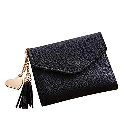 Geldbörse Damen Rosennie Klein Leder Brieftasche RFID Schutz mit Münzfach Mini Portemonnaie Portmonee Kurze Brieftasche Frauen Short Walle Süß Quasten Katze Mädchen Handtasche(Schwarz)