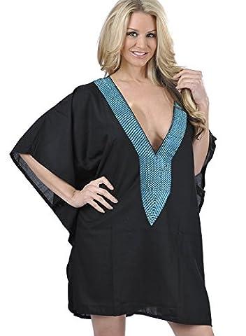La Leela cou brodé maillots de bain maillot de bain artistique super-femmes de rayonne lisses profonde, plus la taille 4 en 1 plage bikini couvrent tunique loungewear robe de base caftan