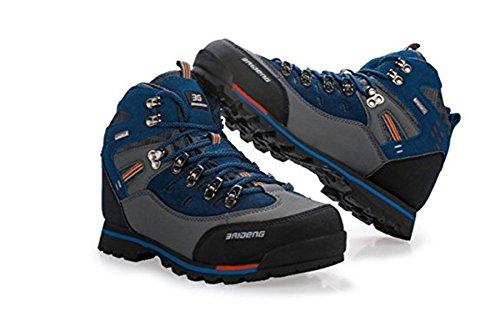 Wasserdichte Leder Outdoor Wanderschuhe Herbst Winter Herren Sport Trekking Bergsteigen Stiefel Blau Grau