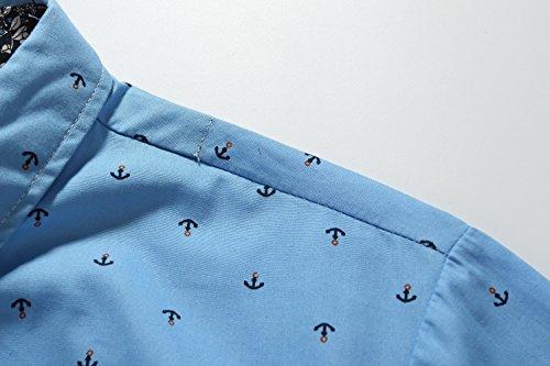 SSLR Herren Freizeit Straight Fit Printing Casual Kurzarm Hemd Himmelblau (Pocket)