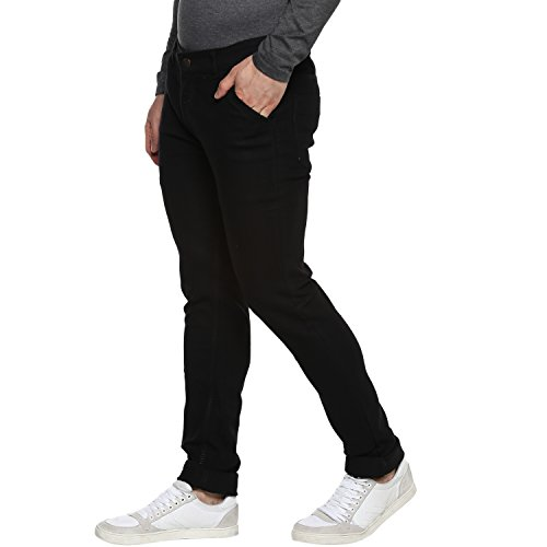 Urbano Fashion Men's Slim Fit Black Stretch Jeans (Size : 30)