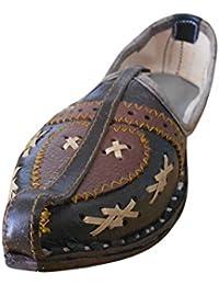 kalra Creations Hombre tradicional hecho a mano indio étnico–Zapatos de piel, color Marrón, talla 43.5