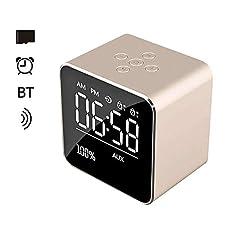 TechCode Réveil avec Haut-Parleur Bluetooth, écran LCD avec Miroir numérique Réveil avec Fonction de répétition Haut-Parleur stéréo améliorée Support de Lecteur de Musique Audio Basse Carte TF, Or