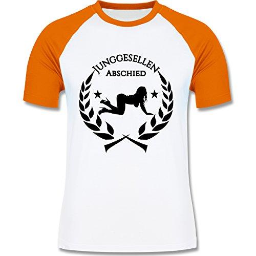 JGA Junggesellenabschied - Junggesellenabschied Lorbeeren Sexy Frau - zweifarbiges Baseballshirt für Männer Weiß/Orange