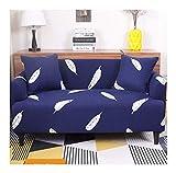 WUFANGFF Feder Muster Sofa Abdeckung Eins Polyester Full Package Elastizität Maschinenwäsche Langlebig Staubdicht, 4 Sitz