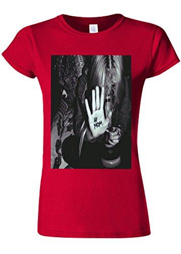 Hi Mum Mariuhanna Bong Naughty Girl Novelty Cherry Red Women Damen Top T-shirt Verschiedene Farben-XXL
