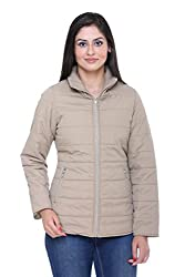 Trufit Full Sleeves Solid Womens Fawn Polyester Basic Casual Jacket