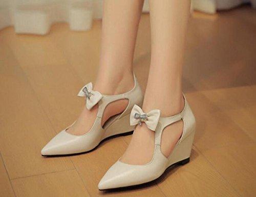 OL Donna delle pompe delle cinghie delle scarpe casuali delle cinghie delle punte della punta del piede della punta del piede UE formato 34-39 meters white