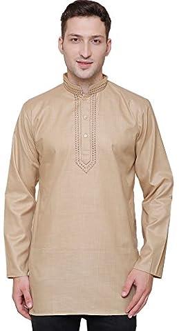 Short Kurta Shirt Men's Fine Cotton Indian Fashion Clothes (Brown, S)