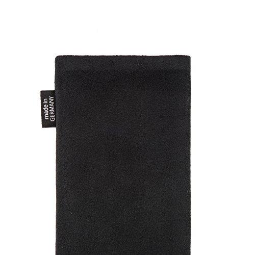 fitBAG Classic Blau Handytasche Tasche aus original Alcantara mit Microfaserinnenfutter für Apple iPhone 6 / 6S / 7 mit Apple Silikon Case Classic Schwarz