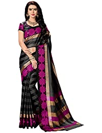 Salwar Studio Women's Black & Pink Cotton Blend Floral, Striped Printed Saree With Blouse Piece-MERAKI-6