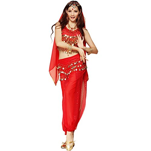 Bauchtanz-Kostüm für Damen von Best Dance, bestehend aus Oberteil mit Perlen und Glöckchen, Haremshose und einem ()