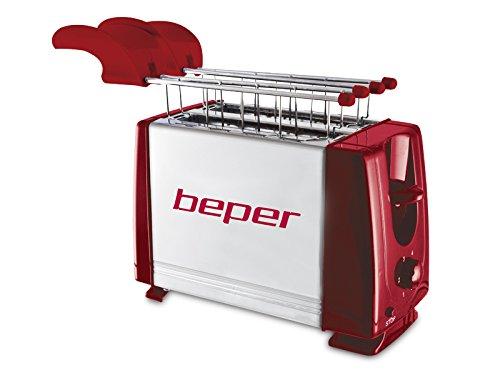 BEPER 90.482H Grille Pain Toasteur, 700 W, Rouge/Argent