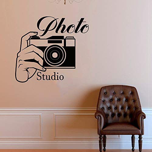 Photo Studio Logo Wall Sticker Photo Camera Vinyl Wall Decal Removable Photography Window Mural Home Camera Decoration Black 42x38cm