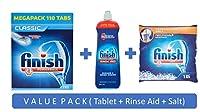 Finish Powerball Dishwasher Detergent Tablet Classic 110 Tablets + Finish Rinse Aid 800ml + Finish Dishwasher Salt 1kg (Combi Pack)