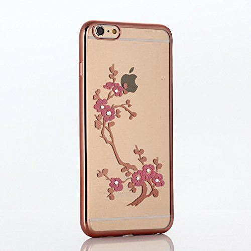 Coque Housse Etui pour iPhone 6, iPhone 6 Coque en Silicone avec Bling Diamant, iPhone 6 Placage de diamant Or Rose Coque Rose Gold Etui Housse, iPhone 6s Or Rose Coque Rose Gold Etui Housse avec Blin Or Rose-Plum fleur