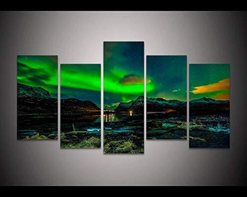 MAlex Décoration Murale Art déco HD Libres Cadre Peinture Maison Toile Peinture Northern Lights sans Cadre