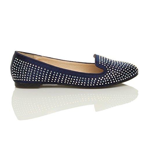 Donna piatto strass matrimonio damigella d'onore sera ballerina scarpe taglia Blu scuro