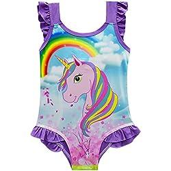 DJSJ- Traje de Baño Unicornio Bañador Niña de una Pieza para Niñas Bañador de Natación,Vacaciones, Playa