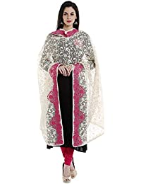 Dupatta Bazaar Woman's Ivory & Pink Cotton Net Dupatta With All Over Embroidery.
