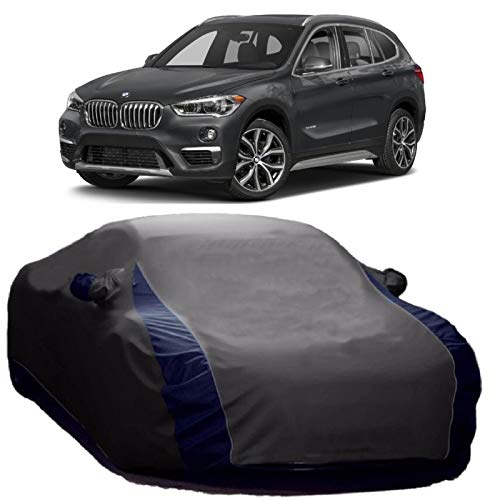 NEXTON Car Body Cover for BMW X1 with Mirror Pockets, Water Resistant & Triple Stiched Fabric_Grey & Blue Color V-Shape