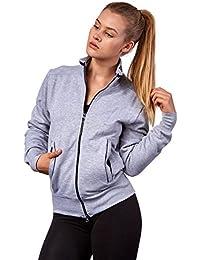 Happy Clothing Damen Sweatjacke mit Reißverschluss und Kragen ohne Kapuze  im sportlichen Design, Elegante Jacke aus Baumwolle für… 7ea5017455