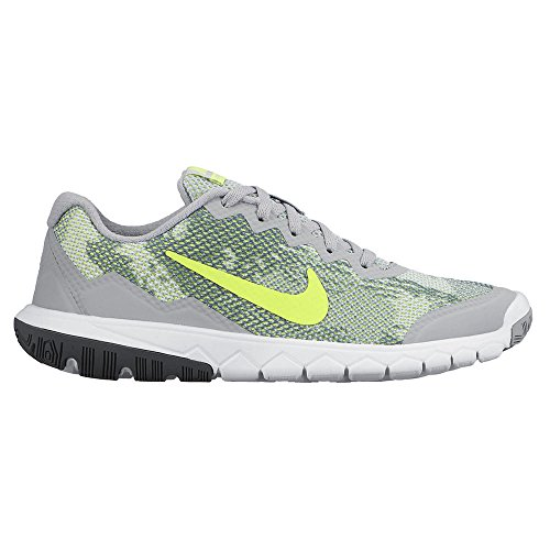 Nike  Flex Experience 4 Print (GS),  Unisex - Kinder Sneakers Gris / Blanco / Amarillo