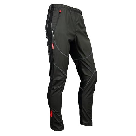 Santic Pantalons Cyclisme d'hiver en Laine thermique Collants Coupe-vent Noir (M)